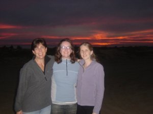 Sunset in Baja, with Laura-Gray Street (L) and Karin Warren (R)