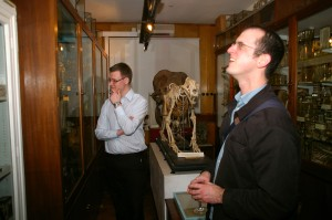 Iain and Chris contemplate the specimens.