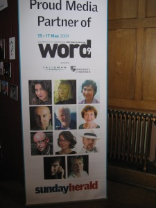 Promotional banner including pictures of myself, Ian Rankin, John Boyne, and others.